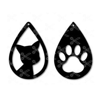 Cat paw tear drop earrings animal love citty svg dxf cut files 324x324 - Cat TearDrop Earring SVG DXF
