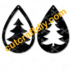 Christmas Tree Tear Drop Earrings SVG