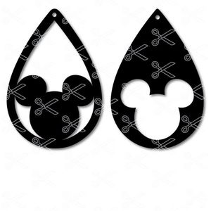 Disney Mickey Mouse Tear Drop Earrings SVG and DXF cut files