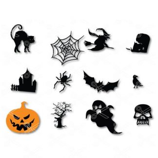 Halloween Clip art Bundle Pumpkin Ghosts Spiders Witch Cat Scary Tree Bat SVG and DXF Cut file
