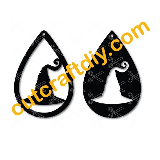 Halloween Witch Hat Teardrop Earring Svg Dxf High Quality Premium Design