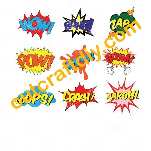 Superhero SVG and DXF files Ooops Wow Pow Bang Zap