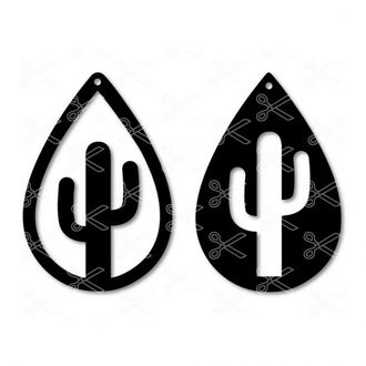 Cactus Tear Drop Earrings SVG Cut File
