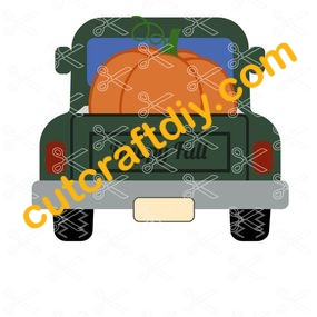 Fall Pumpkin Pick Up Truck Door Hanger SVG and DXF Cut files