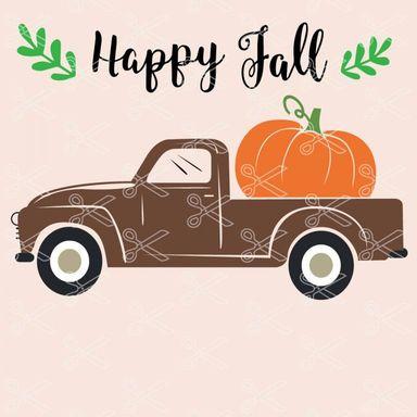 happy fall truck pumpkin svg cut files