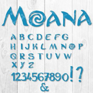 Moana Alphabet and Numbers SVG and DXF Cut files