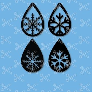 snow flakes tear drop earrings svg and dxf cut files 324x324 - TearDrop Stacked earring SVG DXF