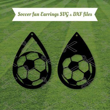 soccer tear drop earrings svg