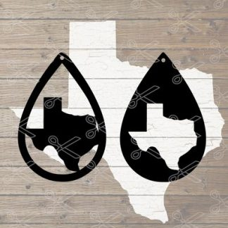 Texas Tear Drop Earrings SVG and DXF Cut files