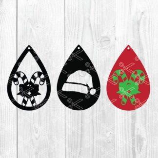 Christmas Santa Hat Tear drop Earrings SVG And DXF Cut Files 324x324 - Christmas TearDrop Earring SVG DXF