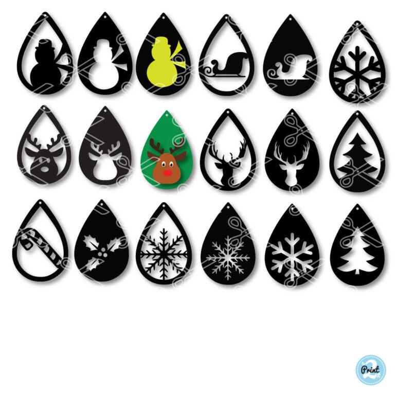 Christmas TearDrop Earrings SVG