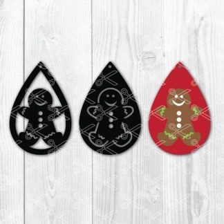 Download Ginger Bread Man Tear Drop Earrings SVG and DXF Cut Files and use it to your DIY project!