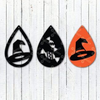Halloween witch hat tear drop earrings svg and dxf cut files 324x324 - Halloween Witch Hat TearDrop Earring SVG DXF