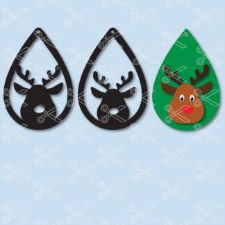 Download Christmas Reindeer Tear Drop Earrings SVG and DXF Cut files