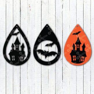 halloween Haunted house tear drop earrings svg and dxf cut files 324x324 - Teardrop Earring SVG and DXF Cut files