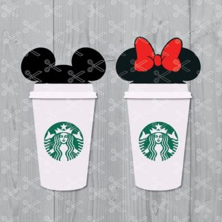 Mickey and Minnie Starbucks Cup SVG