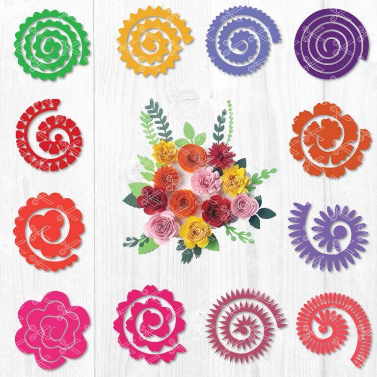 Rolled Flower SVG Cut File