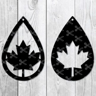 canada flag teardrop earring svg