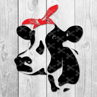 cow with bandana svg