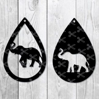 elephant teardrop earring svg