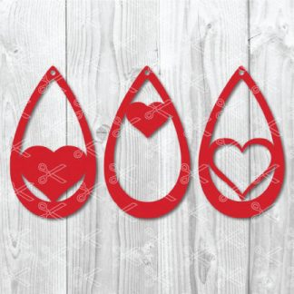 teardrop earring heart svg