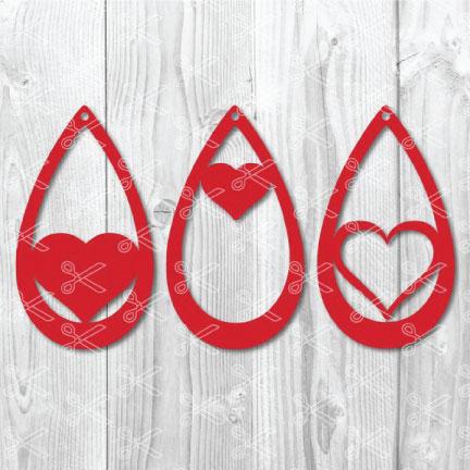 teardrop earring heart svg