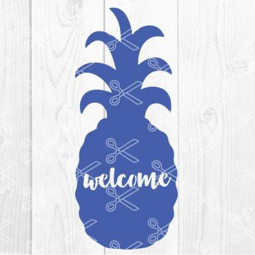 Pineapple Welcome Sign SVG DXF PNG Cut File
