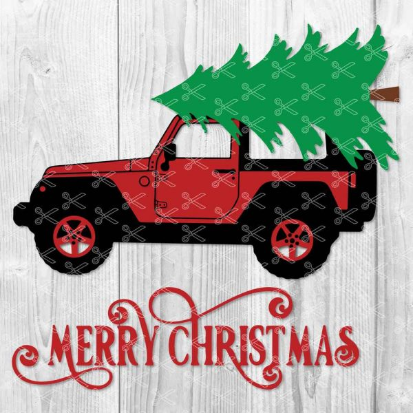 Christmas Jeep.Christmas Tree Red Jeep Svg Dxf Png Cut Files