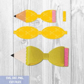 Pencil Hair Bow Digital Template SVG