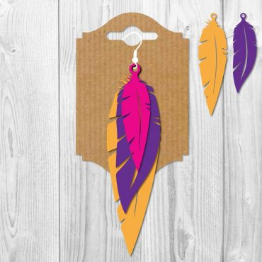 Feather Stacked Earrings SVG