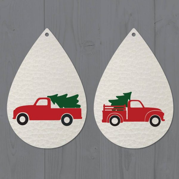 Vintage Red Christmas Truck Faux Leather Earrings SVG