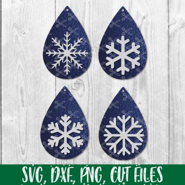 Stacked Teardrop Earring Snowflake SVG