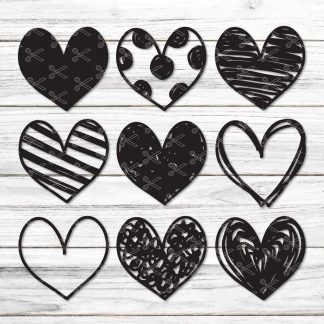 Handdrawn Hearts SVG