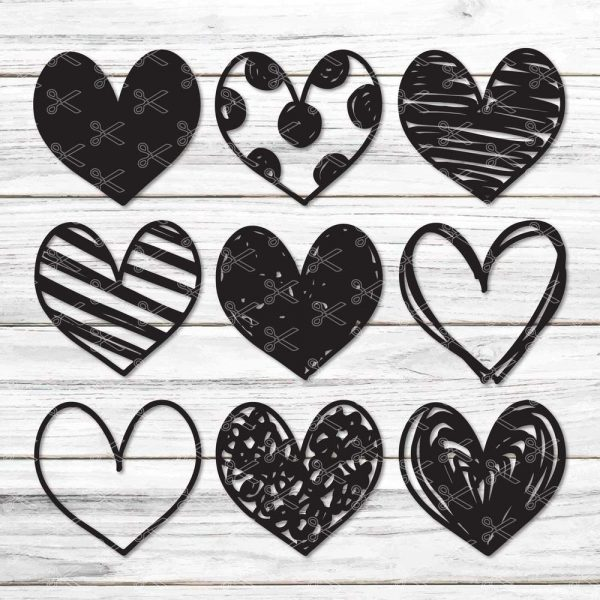 Handdrawn Hearts SVG