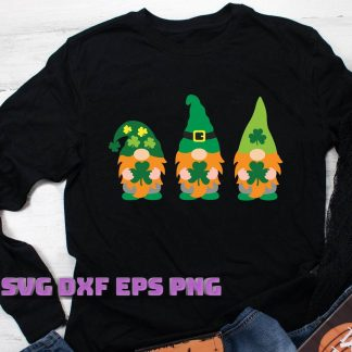 Three Gnomes Holding Clover svg