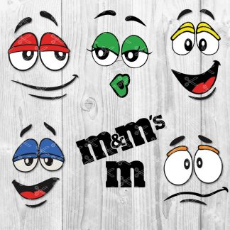 M&M Faces SVG Letter M SVG