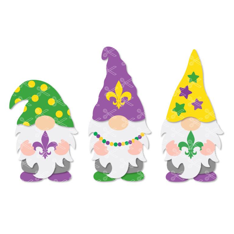 Mardi Gras Gnomes SVG Cut File