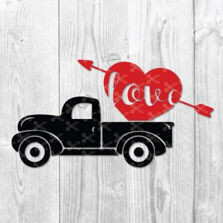 Valentine Red Truck SVG 324x324 - Valentine Red Truck SVG PNG DXF - Valentines Day SVG