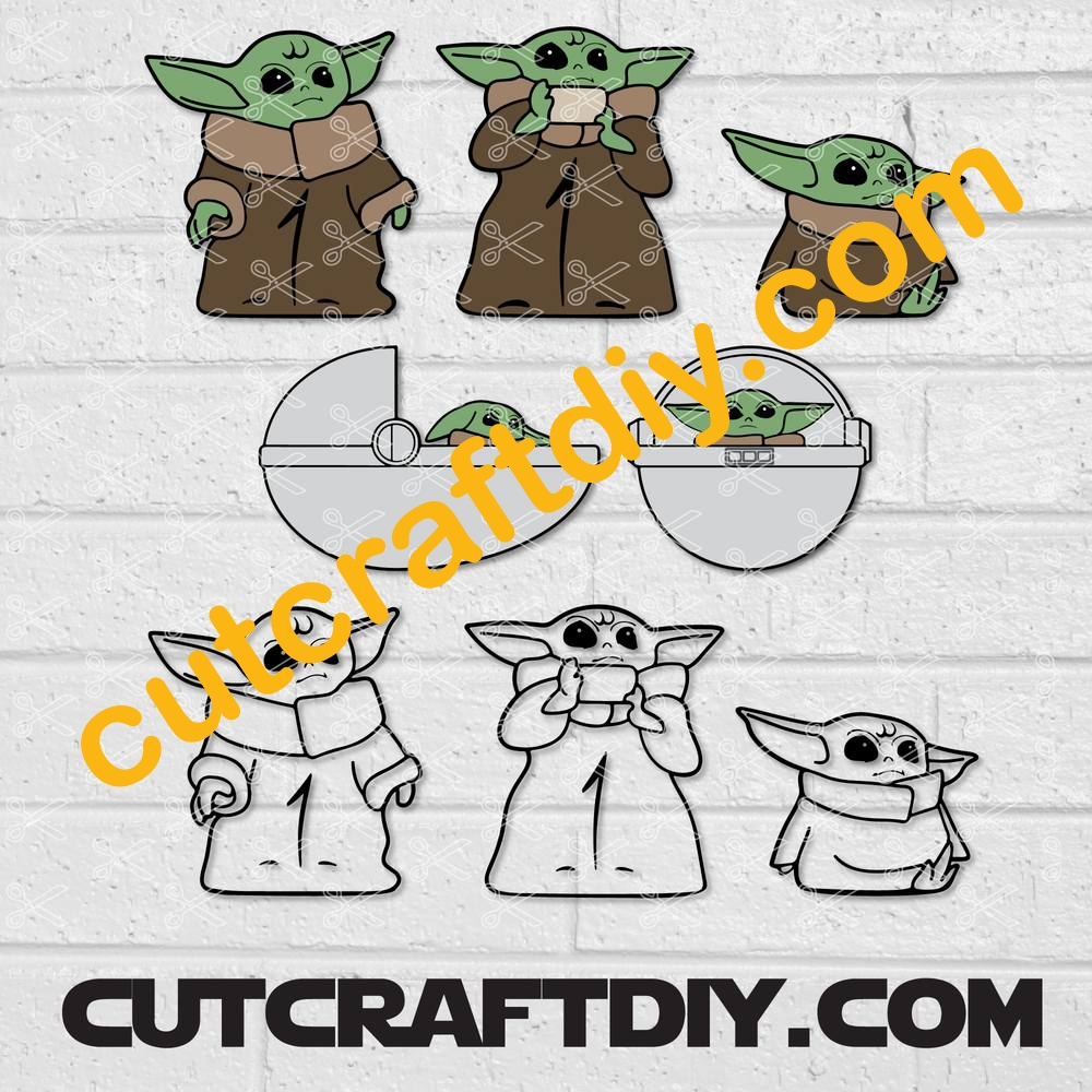 Baby Yoda Outline Svg Dxf Eps Png Clipart Transparent Background