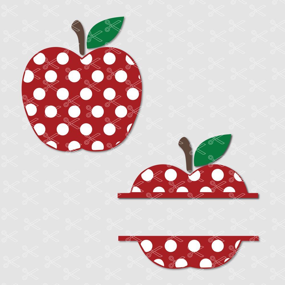 Polka Dot Apple Svg Png Eps Dxf Cut Files Teacher Monogram Svg