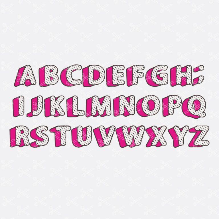 Polka Dots Alphabet Letters SVG