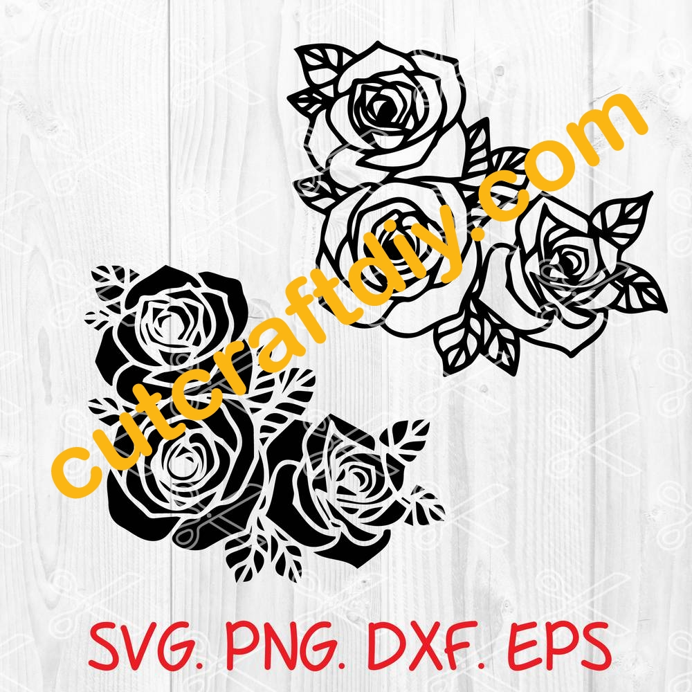 Roses Template Svg Dxf Png Eps Cut Files High Quality Premium Design