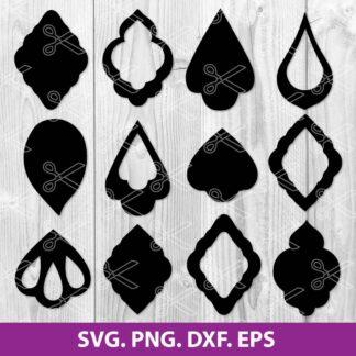 Teardrop Earring Template SVG