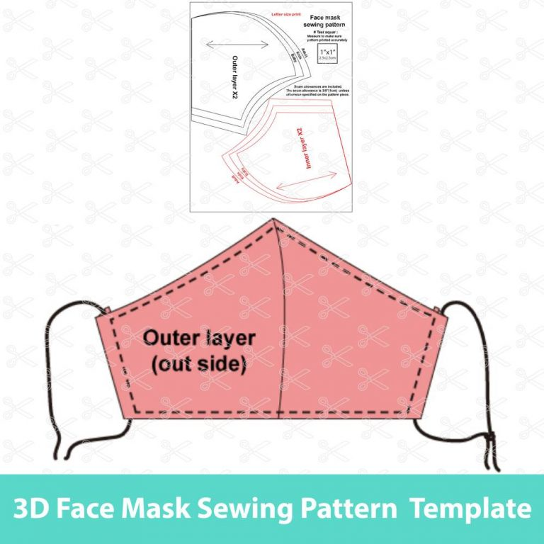 3D Face mask sewing pattern and tutorial