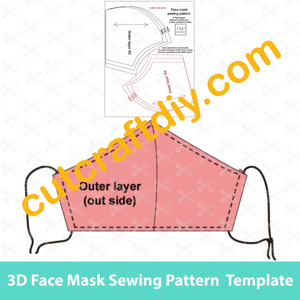 Printable Face Mask Sewing Pattern Tutorial Face Mask With Filter Pocket