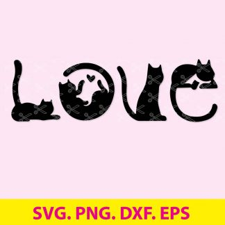 CAT LOVE SVG FILE 324x324 - Cat SVG, DXF, PNG, EPS - Cat Love SVG Cut Files - Love SVG