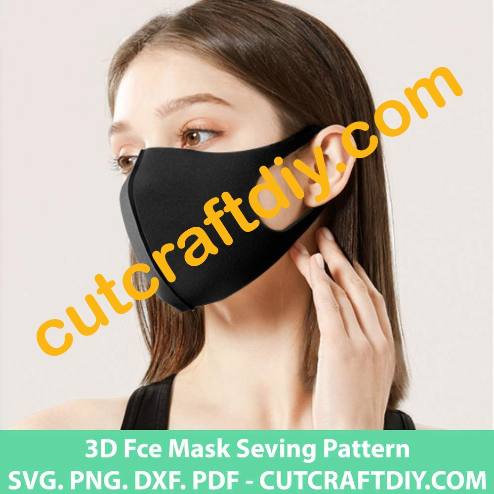 3d Face Mask Sewing Pattern Pdf Svg Dxf Eps Cutting Files