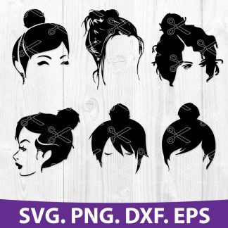 Cute Messy Bun SVG Cut File