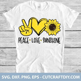 Peace Love Sunshine Sunflower SVG