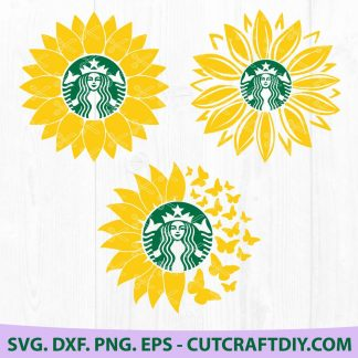 Starbucks Cup Monogram Sunflower Svg Dxf Png Eps Cut Files